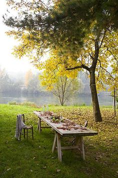 One day, when we're old and gray, we'll sit together under a tree, wondering why everyone moves so fast when our world is pleasantly still Outdoor Tables, Outdoor Spaces, Outdoor Living, Outdoor Decor, Country Life, Country Living, Italy House, Farm Life, Garden Inspiration