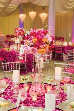 Featured photographer: Chris Humphrey Photography; Pink wedding centerpiece idea