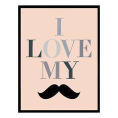 Cadre d�coratif Moustache en bois MDF et verre GENTLEMAN