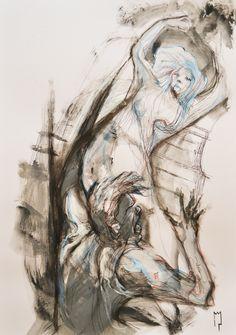 """""""Orfeo e Euridice"""" - Michele Petrelli - oil and acrylic on wood ballasted - 2012"""