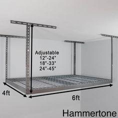 Shop MonsterRax 4' x 6' Overhead Garage Storage Rack - Overstock - 11098657 Garage Storage Racks, Garage Organization Systems, Garage Storage Solutions, Garage Shelving, Organization Ideas, Garage Ceiling Storage, Storage Systems, Storage Design, Diy Storage