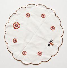 handstiched white cotton doily