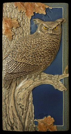 Ceramic tile animal art sculpture Night by MedicineBluffStudio