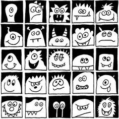 Einzigartige und Kreative Monster im Quadrat – schwarz und weiß Unique and creative monsters in the square – black and white Drawing For Kids, Art For Kids, Drawing Ideas, Halloween Infantil, Classe D'art, Halloween Art Projects, Halloween Drawings, First Grade Art, Art Lessons Elementary