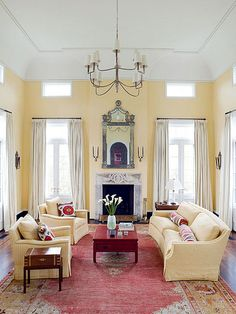 We're digging this sunny shade of yellow paired with muted ruby! More color schemes here: http://www.bhg.com/decorating/color/schemes/living-room-color-schemes/?socsrc=bhgpin020215sunnyjewelbox&page=29