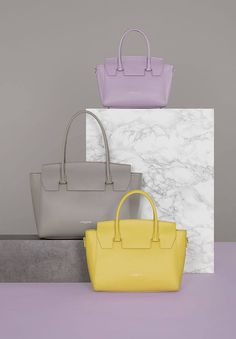 You loved our new handbag Camelia this season, so it comes back with new colors for Fall! Still available in 3 sizes: Small and medium, to carry with your hand or with a strap, and large, to put directly on your shoulder. So, which one do you prefer?  #newcollection #fall #winter #fw17 #bags #yellow #mauve #grey #marble #pastel #setdesign #camelia #lancaster #lancasterparis