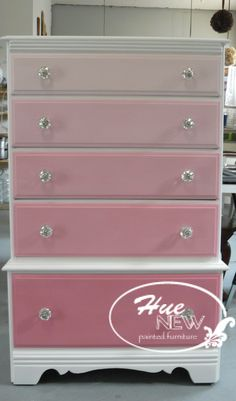 An ombre in custom mixed shades of ASCP pink, with crystal door pulls. by Hue New painted furniture