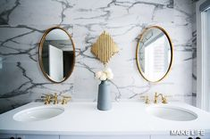 West of Main's HN Riverside South Project includes kitchen, master bathroom, main bath, and powder room Design. Color Plomo, Spiegel Design, Gold Bathroom, White Bathrooms, Bathroom Fixtures, Bathroom Canvas, Narrow Bathroom, Bathroom Mirrors, Small Bathrooms