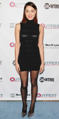 Aubrey Plaza, At the 2014 Outfest Legacy Awards, Plaza took on a walk on the wild side by pairing her curve-hugging knit dress and tights with fierce leopard print pumps. Nylons, Pantyhose Outfits, Black Pantyhose, April Ludgate, Aubrey Plaza, Celebrity Outfits, Celebrity Look, Celebrity Babies, Celebrity Women
