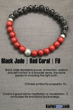 Bracelets I Law of Attraction | #LOA | Beaded & Charm Yoga Mala I Meditation & Mantra I Spiritual.  Red Coral Black Jade.