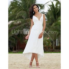 [CAD $ 116.12] A-line V-neck Asymmetrical Tea-length Chiffon Wedding Dress