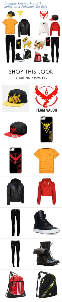 """""""Imagine Denmark and I going on a Pokémon date"""" by xxtoo-happy-to-be-emoxx ❤ liked on Polyvore featuring Valor, Casetify, Hollister Co., Boohoo, Topman, Supra, Paige Denim, adidas, R13 and 27"""