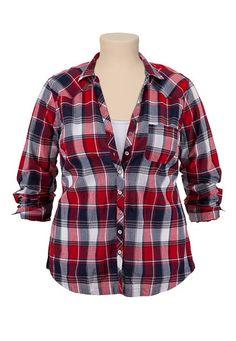 Lightweight Button Down Plaid Shirt #plussize -- I am a total sucker for a plaid shirt.