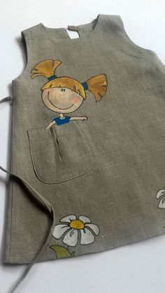 Lace girl dress Gray linen dress Girl linen dress by InGAartWork