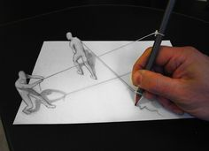 Anamorphic drawings leap off the page