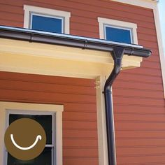 galvanized steel half-round gutter on a house with red siding - Half-round gutters looks good on traditional homes and is usually partnered with full round downspouts (which drain water more efficiently than rectangular ones). These 5 inch, 26 gauge, painted galvanized steel sections are about $5 per foot
