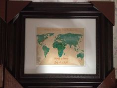World map for 15 th wedding anniversary. Listing the states first and then the countries. Picture printed on photo glossy paper.  Bates 2014