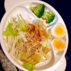 子どものためのプレートごはん - 13件のもぐもぐ - サラダうどん☆ゆでたまご☆湯でブロッコリー by mamekoon