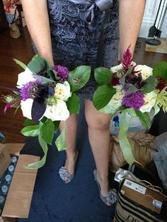 Bridal party bouquets Karen and I made