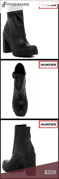 """⭐️⭐️❗️1-HOUR SALE❗️HUNTER HIGH HEEL BOOTS 💟NEW WITH TAGS💟 RETAIL PRICE: $280  HUNTER HEELED ANKLE BOOTS   * Round toe  * Adjustable buckle ankle strap detail   * Raised front shaft  * Lightly padded insole   * Pull-on style  * Approx 5.25"""" shaft, 12.25"""" opening  * Approx 3.75"""" high heels & 7/8"""" platform Material: Manmade upper & sole Color: Black Item#HU919900  🚫No Trades🚫 ✅ Offers Considered*✅ *Please use the blue 'offer' button to submit an offer. Hunter Shoes Ankle Boots & Booties"""