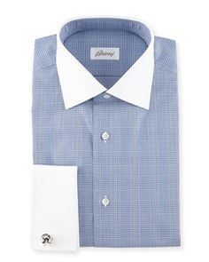 N3VL3 Brioni Contrast-Collar Glen Plaid Dress Shirt, Dark Blue