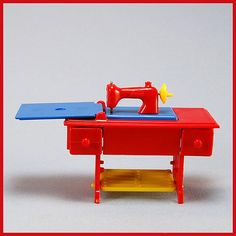 Renwal Doll House Miniature #89 Sewing Machine Red with Blue & Yellow