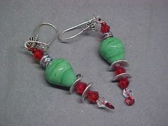 Cute Christmas Tree Lights Green Lampwork by LEFIALYNNCREATIONS