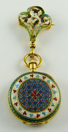 Patek Philippe & Cie, Genève, triple signed Tiffany & Co, elaborately decorative lady's enamel pendant watch with original matching pin