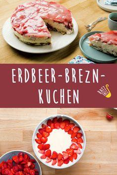 Süß und salzig in einem: Unser Erdbeer-Brezn-Kuchen macht es möglich. Ideal für den nächsten Kaffeeklatsch mit Freunden. Foodblogger, Vegetables, Trends, Desserts, Coffee Meeting, Strawberries, Food Food, Tailgate Desserts, Postres