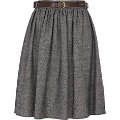Grey tweed a line skirt with belt $20.00