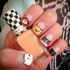 First attempt at Neko Atsume nails