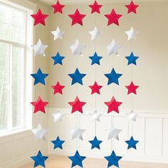 Patriotic Red, White & Blue Stars String Decorations feature dazzling strands of red, white, and blue die-cut foil stars. These star decorations are great accents to your of July celebration or patriotic party. Captain America Party, Captain America Birthday, Wonder Woman Birthday, Wonder Woman Party, Avengers Party Decorations, Star Decorations, Superman Birthday Party, 4th Of July Party, Party Stores