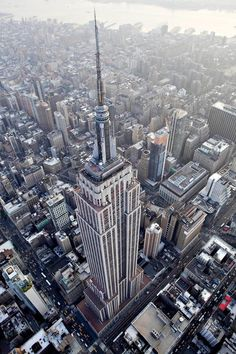 An aerial view of the Empire State Buildingat the intersection of Fifth Avenue and West 34th Street in New York City.