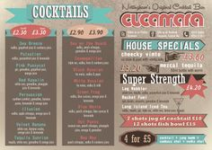 Graphic Design of  A4 flyer for Cucamara Cocktail Bar in Nottingham