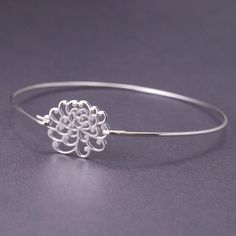 Sterling Silver Chrysanthemum Flower Bangle Bracelet by georgiedesigns