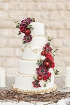 Marsala Elegance Wedding Cake By Gourmelicious {Sara & Soha}