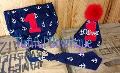 Navy blue and red Nautical Anchor birthday cake by TutifulBowtique
