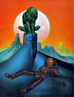Eerie, dark, disturbing and totally original - spaceman partially interred in the blue sand of some alien world, his headgear broken open, his flesh long desiccated, and a green humanoid-looking dog/gargoyle surveying his remains. By Richard Corben, 1972. Gotta look into more of his work.