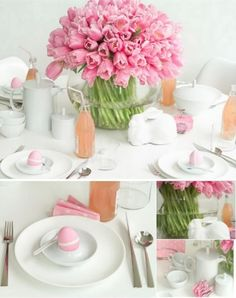 SO pretty! easter table setting!  a beautiful bundle of pink tulips as a centerpiece.