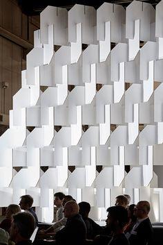 World Architecture Festival exhibition designed by Populous Cardboard Design, Cardboard Crafts, Booth Design, Wall Design, World Architecture Festival, Festival London, Parametric Design, Exhibition Display, Cardboard Furniture