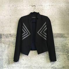 Zara black jacket with embellished ribbon detail In great condition Zara Jackets & Coats Blazers