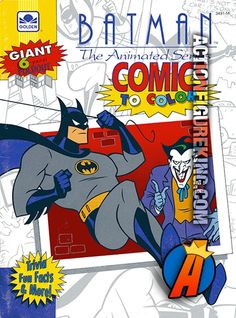 Batman The Animated Series 1992 Golden And Gold Key Foldout Comics To Color Coloring Book With Trivia Fun Facts