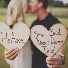 He asked she said about damn time! These are fantastic for engagement photos! Supplies are limited don't miss out on this fabulous wood wedding ideas Engagement photo props Engagement Photo Props, Engagement Shoots, Wedding Engagement, Our Wedding, Dream Wedding, Engagement Ideas, Trendy Wedding, Wedding Favors, Best Wedding Ideas