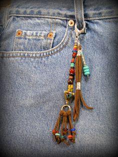 Purse Charm Tassel Zipper Pull Beaded Purse by StoneWearDesigns