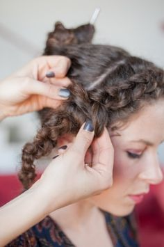 2013 Curly Hairstyles Great For All Types Of Ringlets: Step 4: When you get to the ear, stop French braiding and braid the rest of the hair normally. Secure with elastic and pull braid apart a bit to loosen.