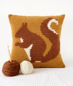 squirrel cushion pillow crochet pattern woodland home decor nursery mustard yellow red squirrel animal cushion by LittleDoolally on Etsy https://www.etsy.com/uk/listing/217154215/squirrel-cushion-pillow-crochet-pattern