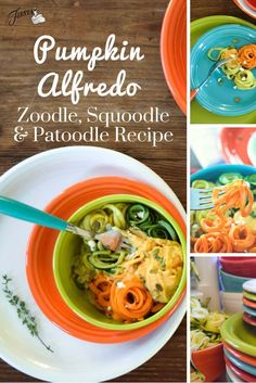 """Pumpkin Alfredo Zoodle, Squoodle and Patoodle Recipe that's """"oodles"""" of fall fun, from the Fiesta Dinnerware blog at www.alwaysfestive.com."""