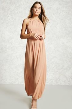 Style Deals - A crinkle woven maxi dress featuring a high-neck, self-tie back closure, an elasticized waist, and flowy silhouette.