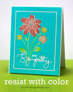 Stamping Resist with Color Card by Jennifer McGuire using brand New Simon Says stamp from the This Is The Life Release.  July 2014