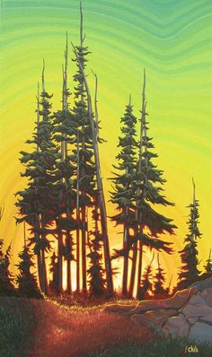 Green Skies at Night - by Chili Thom, giclee Forest Illustration, Landscape Illustration, Landscape Art, Landscape Paintings, Sunset Paintings, Landscapes, Landscape Photos, Canadian Painters, Canadian Artists